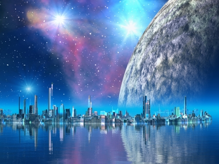 alien planet: Futuristic Floating City