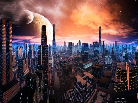 Neon Lit Cityscape op de verre wereld Stockfoto