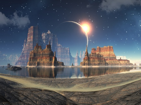 fantasy fiction: Solar Eclipse over Alien Lake Landscape