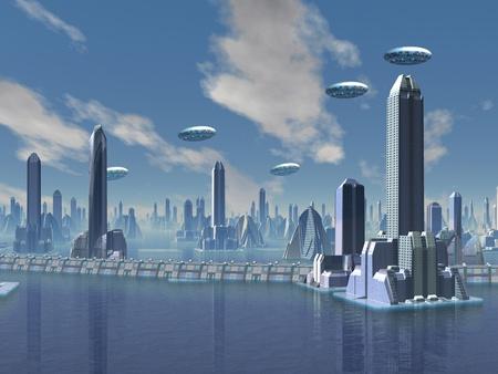 UFO boven futuristisch Alien Stad Stockfoto