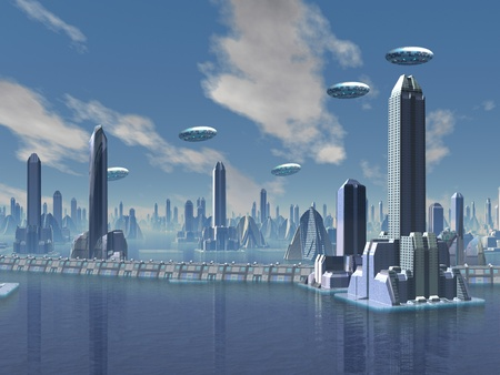 unidentified flying object: UFO over Futuristic Alien City