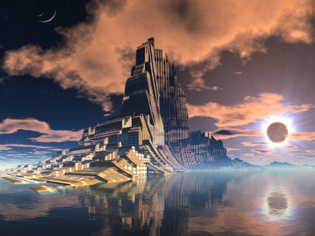 Futuristic Alien City at Lunar Eclipse Stock Photo
