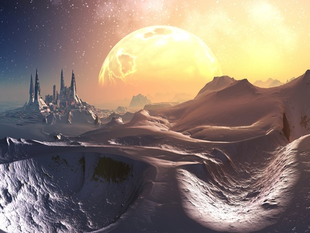 alien planet: Approach through Snow to Future City