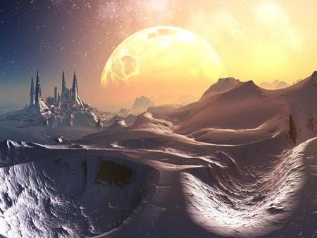 Enfoque a través de la nieve a la ciudad de futuro