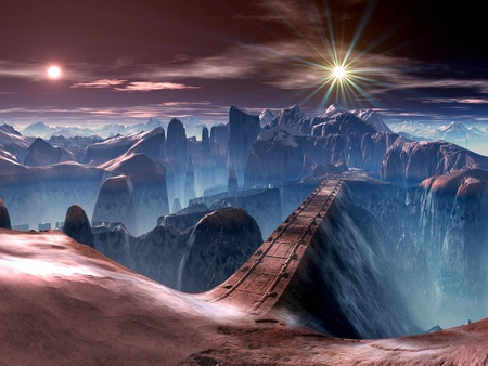 fantasia: Puente sobre Barranco futurista en el Planeta de Alien