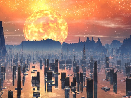 future city: Flooded Future City with Red Giant Sun