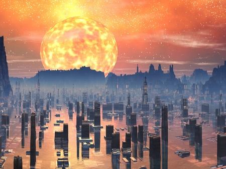Overspoeld Future City met Red Giant zon Stockfoto