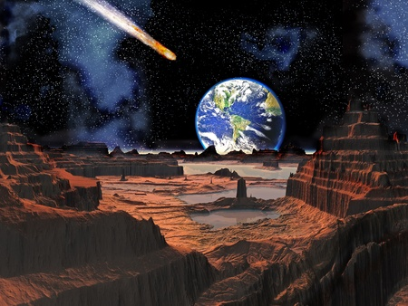 Asteroid Botsing met de aarde bekeken van Moon