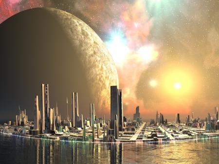 futuristico: Isole di Utopia - galleggianti futuro citt�
