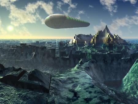 raumschiff: Space Shuttle über Alien City Ruins
