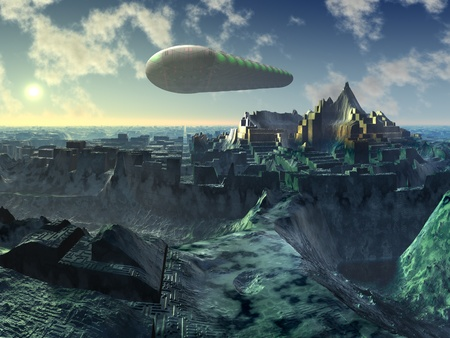 fantasy fiction: Space Shuttle over Alien City Ruins Stock Photo