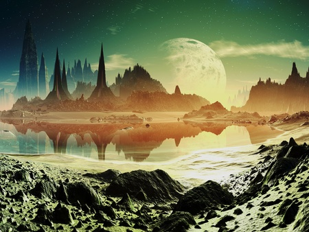 fantasy alien: Alien City Ruins beside the Lake