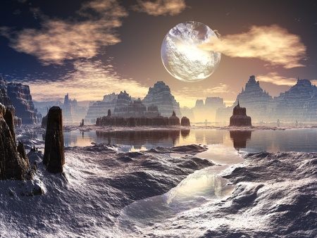 fantasy alien: Winter Alien Landscape with Damaged Moon in Orbit