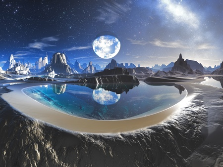 alien planet: Reflection of Earth in Crystal Pool