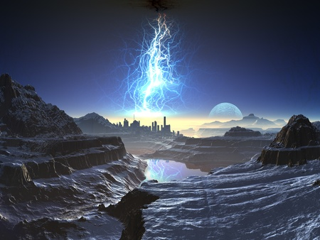 Electric Storm over Distant Alien City Stock Photo - 10535854