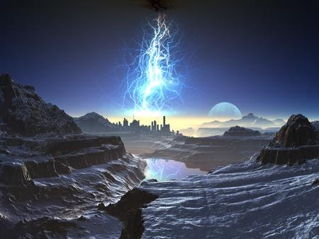 Elektrische Storm over Distant Alien Stad