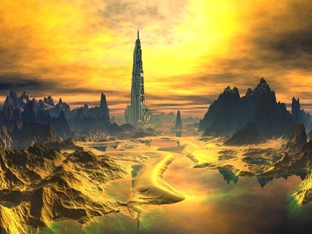 Torre futurista en paisaje extraño de Oro