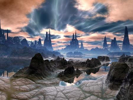 Onweer op Rock Towers op Alien Wereld Stockfoto