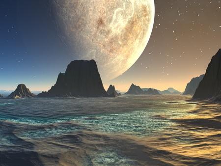 Zonsondergang over Vreemd Strand bij Moonrise