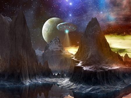 Nave espacial sobre ruta de montaña en mundo distante