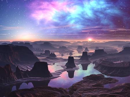 alien landscape: Aurora gassoso su paesaggio montagnoso Alien
