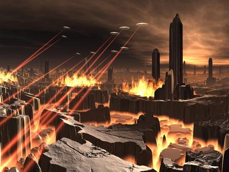 UFO Invasie van futuristische stad Stockfoto