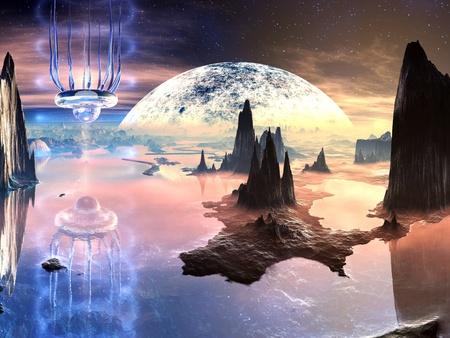 raumschiff: Alien Kreatur auf fernen Planeten