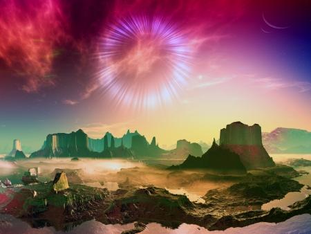Wormhole over Alien Landscape photo