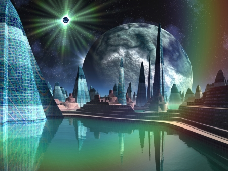 fiction: Futuristic Alien City with Quasar Star Stock Photo