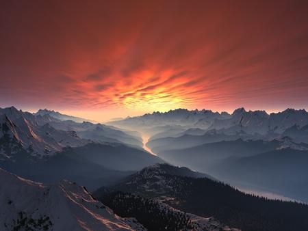 Besneeuwde Berg Valley Sunset