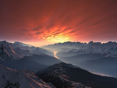 Snow-covered Mountain Valley Sunset