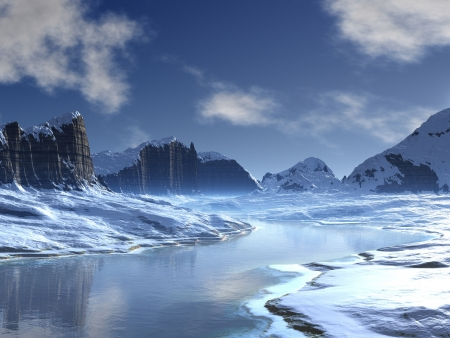 Ice River Valley Landschap