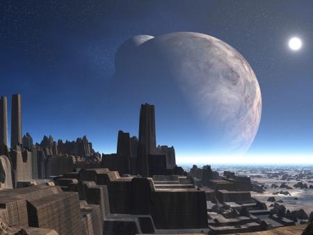 Verlaten Alien City met twee manen Stockfoto