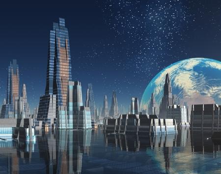 fantasy world: Moon Base - Futuristic City with Earth in Orbit