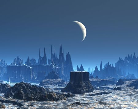 New Moon over Blue Planet  Stock Photo