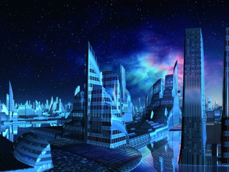 futuristic city: Aquarius City Skyline  Stock Photo