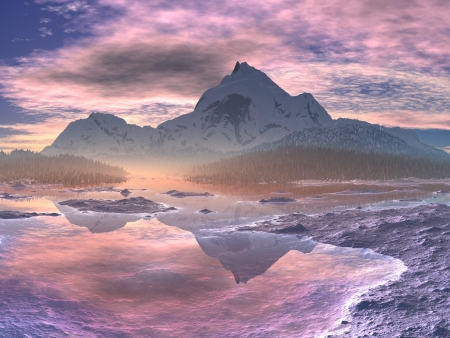 Snow-covered Mountain Valley Sunrise  Stock Photo