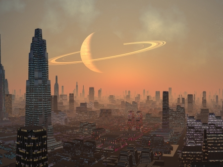 Hot Summer Night in Alien City  Stock Photo