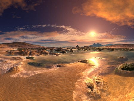Sunrise Sunset Beach  Stock Photo