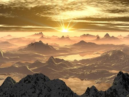 Snowy Mountain Sunrise