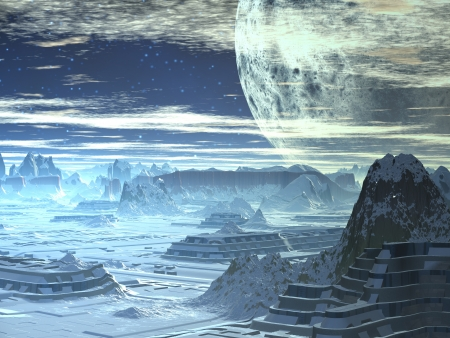 Winter Skyline on Alien World