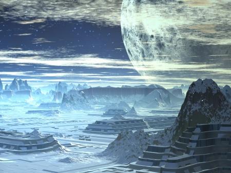Winter Skyline op Alien World