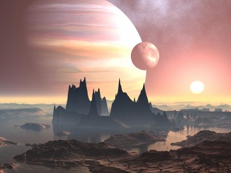Twin Moons op Planet Europa Stockfoto