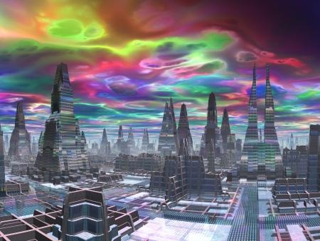 Cosmic Dawn over Futuristische Stad