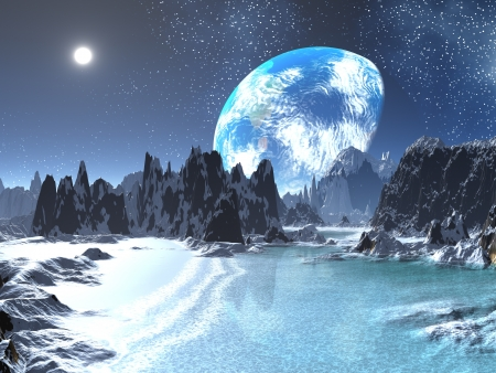 Winter Earth-rise from Alien Shores
