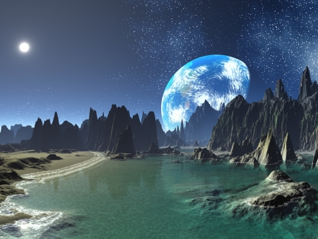 Earth-rise from Alien Shores