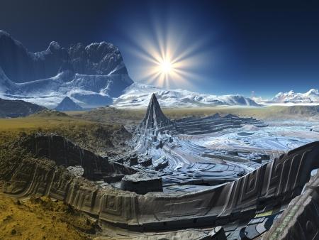 Futuristische Tech City op Alien Planet Stockfoto
