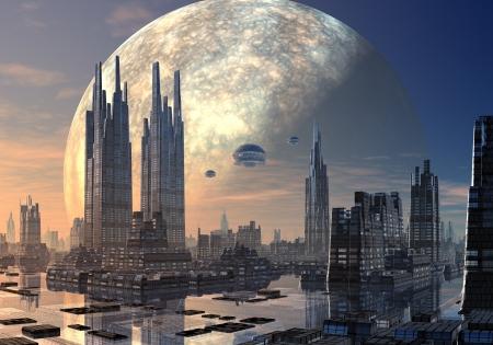 Ruimtevaartuig in vorming over een futuristische vreemde stad ligt aan het water met enorme planeet in een baan achter