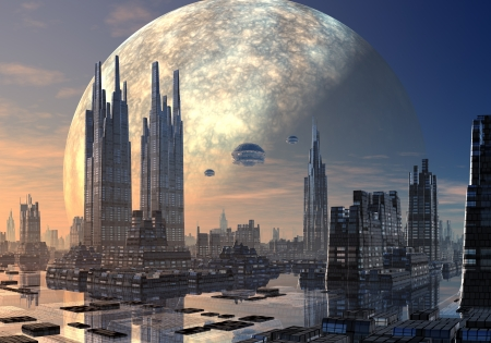 Spacecraft in formation over a futuristic alien city set on water with huge planet in orbit behind