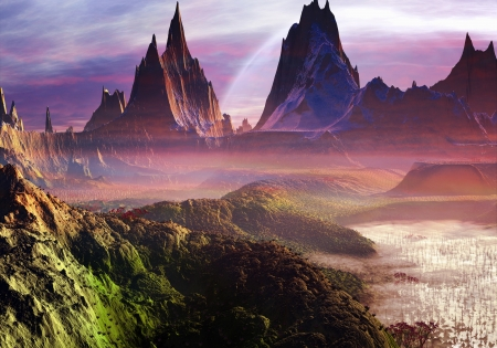 fantasy landscape: Mist rises gently over a perfect new world filled with lakes and mountains